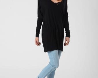 Oversize Shirt,Urban Clothing, Hooded Tunic Top, Slouchy Shirt,  Black Hooded Tunic, V Neck Shirt, Festival Clothing, Casual Top