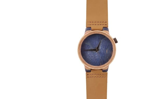 7PLIS watch #54 Recycled SKATEBOARD #madeinfrance blue brown wood