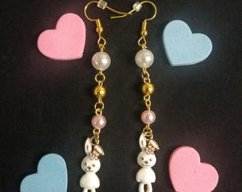 Kawaii Pink & Gold Dangle Bunny Earrings