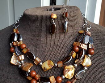 Brown Abalone, Stone And Glass Bead 3 Strand Necklace With Matching Earrings