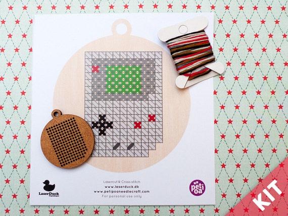 Cross Stitch Kit - Gameboy Lasercut DIY ornament, pendant or keyring