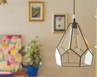 Industrial Decor, Industrial Lamp, Lamp, Hanging Terrarium, Glass Terrarium, Stained Glass Lamps. Edison Lamp, Edison Bulb, Edison Light