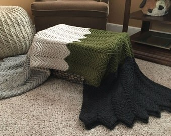 Raised Chevron Bold Thick Stripe Acrylic Crochet Afghan Blanket Throw Gray Olive Green Cream Linen