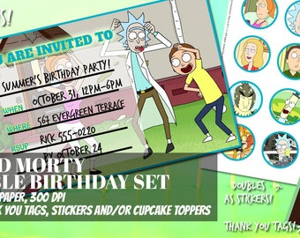 Rick & Morty Inspired Birthday Package DIY Printables Invitations, Thank You Tags, Stickers, Cupcake Toppers