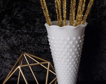 White Fire King Milk Glass Hob Nail Vase circa 1960's