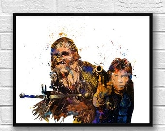 Star Wars Watercolor Print Han Solo Chewbacca The Force Awakens Movie Poster Kids Room Decor Wall Hanging Watercolor Painting Art - 450