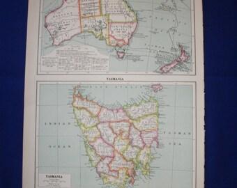 1926 map of  australia and tasmania map vintage wall decor