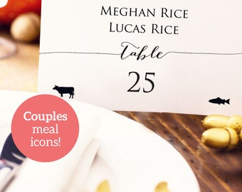 Couples Place Card with Meal Icons, Wedding PDF Template, Custom Personalized Seating Card, Place Setting Card with Meal Options