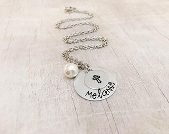 Personalized Necklace with Cross - First Communion Gift - Confirmation Gift for Girls - First Communion