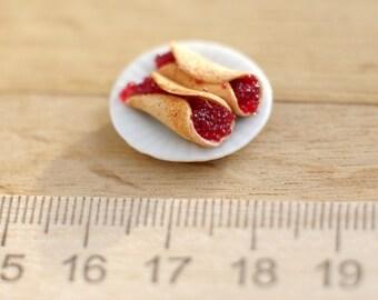Pancakes with caviar - miniature for a dollhouse 1:12