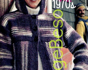 Hooded Jacket KNITTING Pattern so EASY to KNIT Instant Download PdF Pattern Vintage 1970s Knitting Pattern