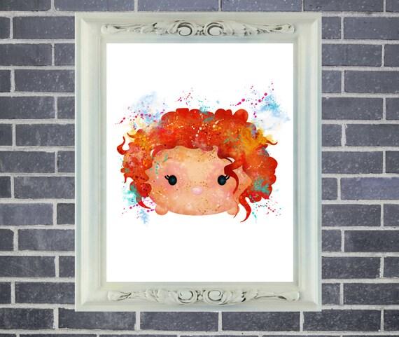 Merida Brave Tsum Tsum Art Print ~ Watercolor Painting, Home Decor, Nursery Decor, Wall Poster, Art by Star Dangle