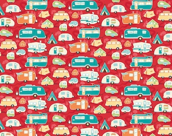 Road Trip Trailers in Red by Kelly Panacci for Riley Blake  Designs