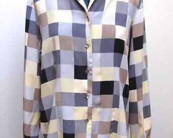Vintage Nexx 100% Silk Multicolor Squares Pattern Women's Blouse Size PM