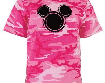 Disney Mickey Head Pink Camo Shirt