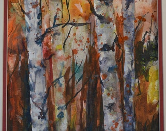 """Original Watercolor """"Trees"""" painted by Bill O'Connor"""