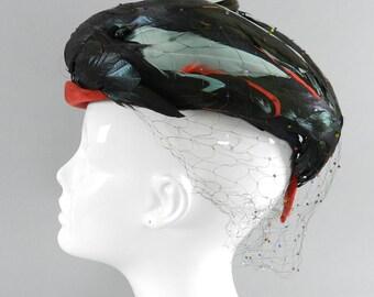Vintage 1960's Madame Paulette France designer milliner hat with feathers / net