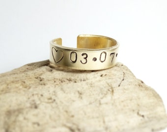 Personalized rings - Stackable name rings - Name rings - Birth date rings - Engraved rings - stacking rings, coordinates ring, brass ring