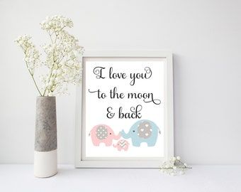 I Love You To The Moon And Back, Elephant Wall Art, Elephant Wall Decor, Elephant Nursery Wall Decor, Elephant Nursery Wall Art, Pink, 001