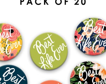 Pack of TWENTY (20) - Pin Badges - Best Life Ever - 38 mm/1.5 inch, Jehovah's Witnesses, JW Gift, Pioneer School Gift, jw pins, jw.org pins