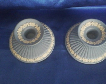 True Pair of Wedgwood Jasper Ware Candle Holders, Made in England