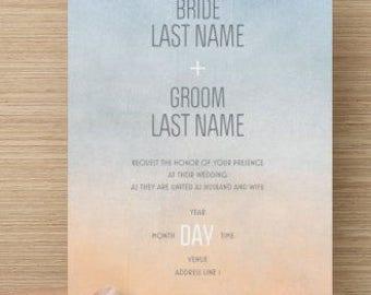 Blue and Orange Watercolor Wedding Invitation