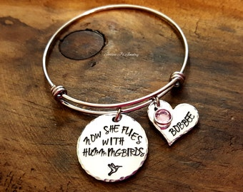 Hand Stamped Jewelry, Now She Flies With Hummingbirds Bangle, Hummingbird Memorial Bracelet, In Memory of Bangle, Sympathy Gift For Her
