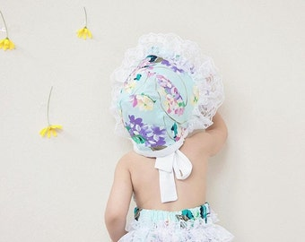 Baby Girl Romper, Easter romper and bonnet set, turquoise floral romper, lace romper, girls spring outfit, baby girl outfit