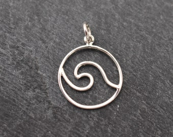 Sterling Silver Wave, Ocean, Charm, Pendant