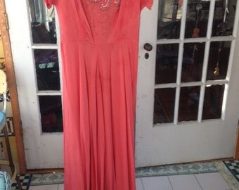 SALE:  1930's salmon rayon blend gown with sequins and beads