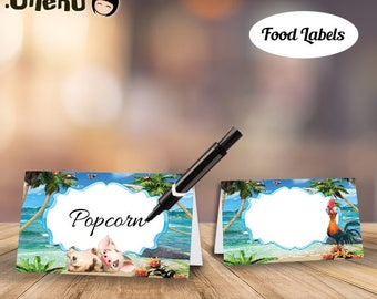 SALE Moana Food Labels DIY Printable / Moana Food Tents / Moana Cards / Moana Party Decor / Moana Place Cards / Moana Buffet Cards