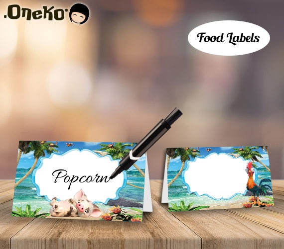 SALE Moana Food Labels DIY Printable / Moana Food Tents / Moana Cards / Moana Party Decor / Moana Place Cards / Moana Buffet Cards & SALE Moana Food Labels DIY Printable / Moana Food Tents /