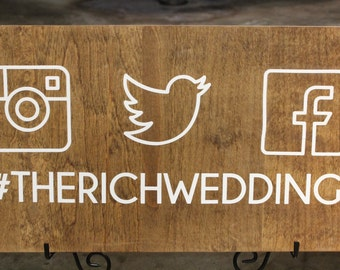 Custom Wedding Hashtag Sign - Instagram Wedding Sign - Wood Wedding Hashtag Sign - Wedding Hashtag Wood Sign - Personalized Hashtag Sign