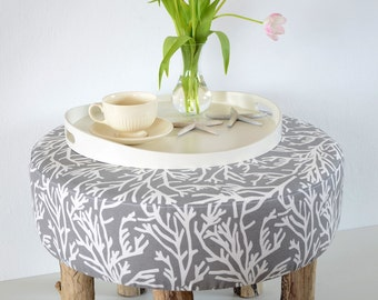 Allround-furniture - coffee table (tray) - stool - stool, Korallenprint fabric upholstered with five Driftwood legs