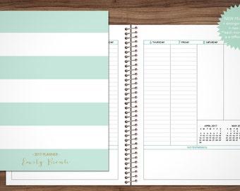 2017 2018 planner custom planner student planner VERTICAL LAYOUT weekly monthly calendar agenda / mint green stripes