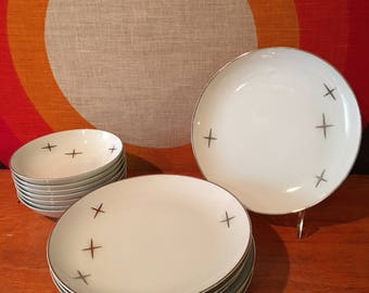 Mid Century Modern China, Fukagawa Arita, Porcelain Atomic Starburst Dishes, Mid Century China, Salad Plates and Dessert Bowls, 14 Piece Set