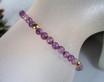 Amethyst Bead Bracelet, 14K Gold Bead Bracelet, Amethyst Stone Beads, 14K Gold Spring Clasp, Purple Bracelet, Vintage Bracelet – 7 Inches