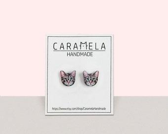 Cat stud earrings tabby cat earrings Cute kitty Stud Earrings Custom your pet Grey cat earrings animal earrings