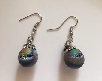 Druzy And Rhinestones Earrings