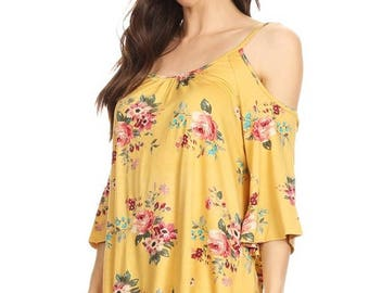 S M L ~ Mustard Floral Cold Shoulder Top