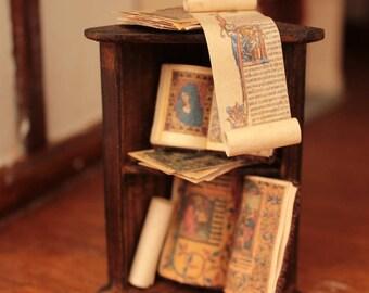 Hand Made Tudor Style 1/12th Scale Dolls House Dressed Corner Shelf