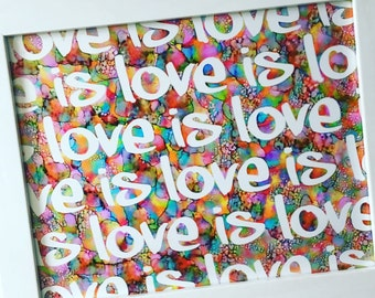 Love is Love Handmade Painting Wall Art / 8x10-inch Ink Painting