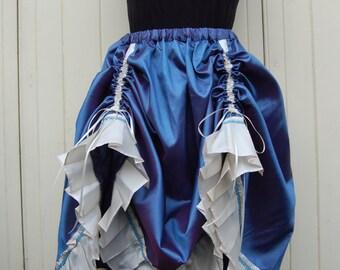 Steampunk Skirt in Blue and Cream Taffeta