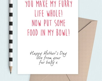 Fur baby card Mother's Day from the cat or dog