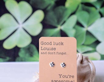 Good luck personalised earrings