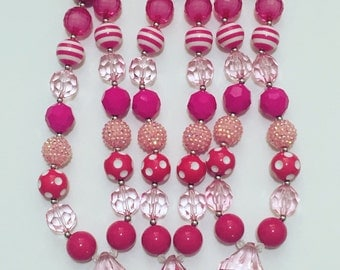 Pink gem chunky necklace