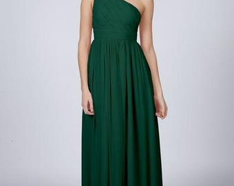 Forest Green One Shoulder Long Bridesmaid / Prom Dress by Matchimony