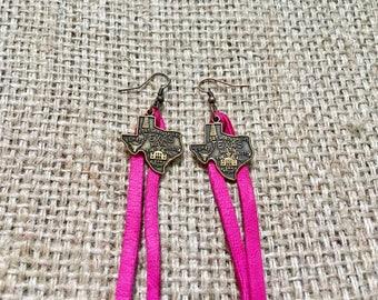 Texas Earrings, Texas Suede Earrings, Texas State Earrings, Pink Texas Earrings, Pink Suede Earrings, Suede Texas Jewelry, Western Jewelry