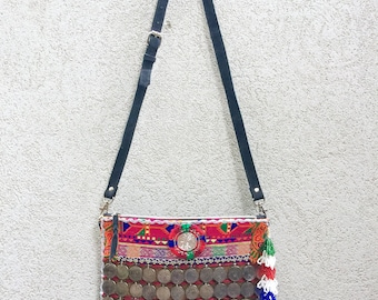 Suede Bag, Coin Bag, Banjara Bag, Boho Bag, Tribal Clutch Bag, Gypsy Clutch, Boho Clutch, Tribal Bag called Jade