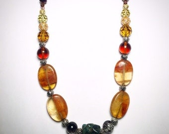 Amber & Turquoise Natural Stone Necklace